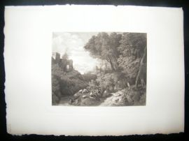 Cornelis Huysmans 1885 Photogravure. Landscape with Cattle